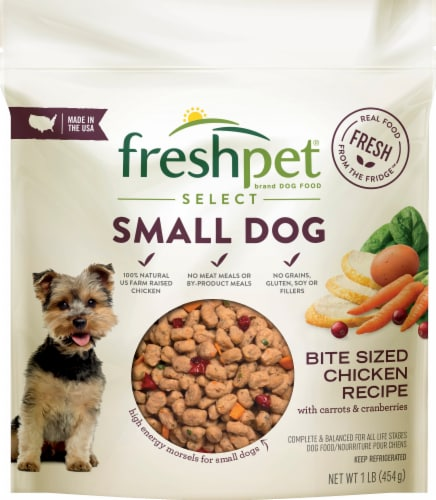 Freshpet Select Bite Sized Chicken Recipe with Carrots & Cranberries Small Dog Food Perspective: front