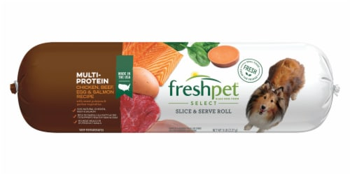 Freshpet Multi-Protein Chicken Beef Egg and Salmon Recipe Perspective: front