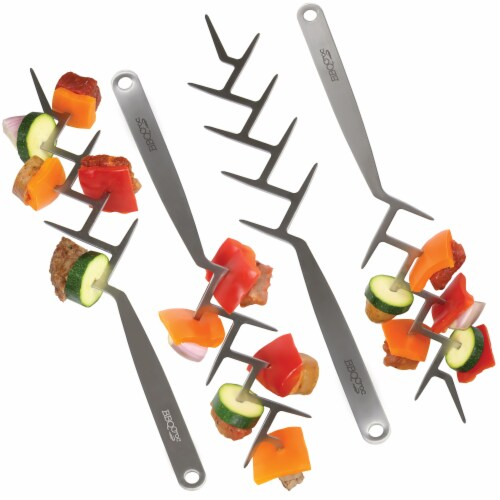 BBQCroc Stainless Steel 15 Inch Long Zig Zag 9 Prong Cooking Skewers (4 Pack) Perspective: front