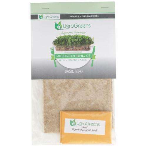 UgroGreens Organic Basil Microgreen Refill Kit 2 Count Perspective: front