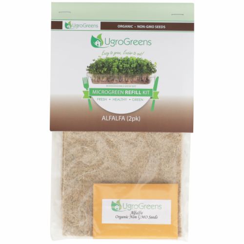 UgroGreens Organic Alfalfa Microgreen Refill Kit 2 Count Perspective: front
