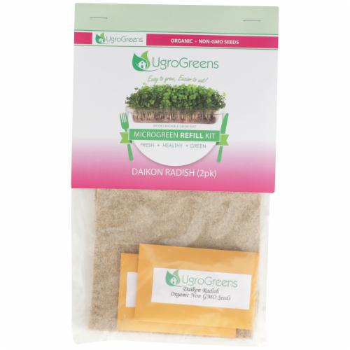 UgroGreens Organic Diakon Radish Microgreen Refill Kit 2 Count Perspective: front