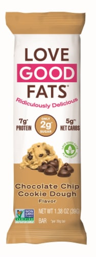 Love Good Fats® Plant Based Chocolate Chip Cookie Dough Bar Perspective: front