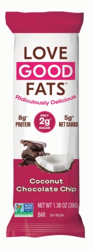 Love Good Fats Coconut Chocolate Chip Keto Protein Bar Perspective: front