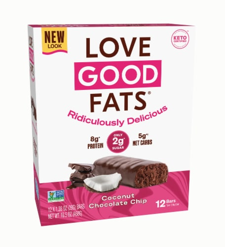 Love Good Fats Coconut Chocolate Chip Keto Snack Bars Perspective: front