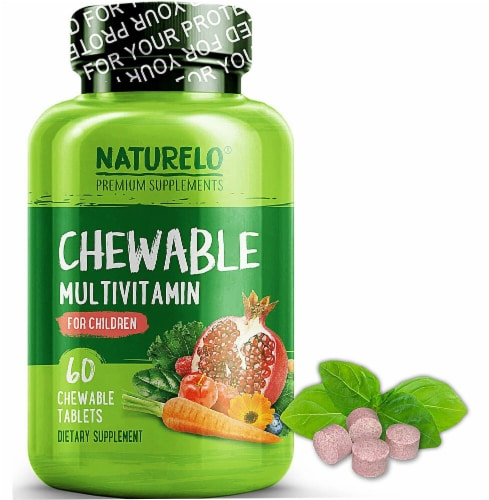 NATURELO Children's Chewable Multivitamin Tablets 60 Count Perspective: front