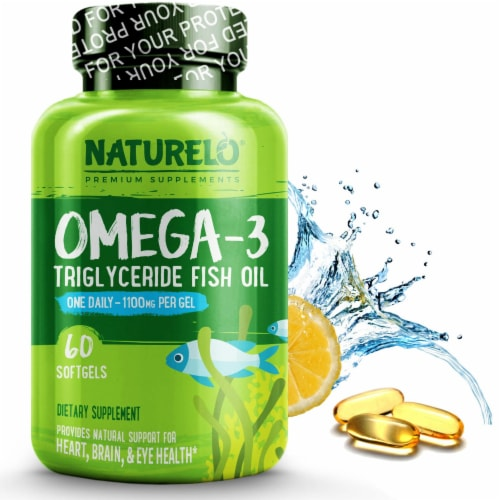 NATURELO Omega-3 Triglyceride Fish Oil Softgels 1100mg Perspective: front