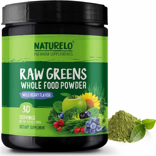 NATURELO Raw Greens Wild Berry Flavor Whole Food Powder Perspective: front