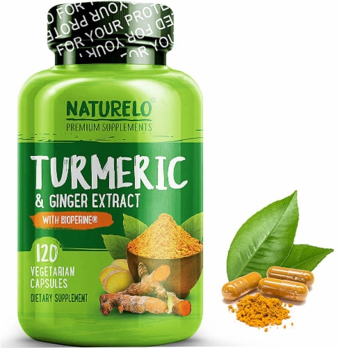 NATURELO Turmeric & Ginger Extract with Bioperine Dietary Supplement Capsules Perspective: front