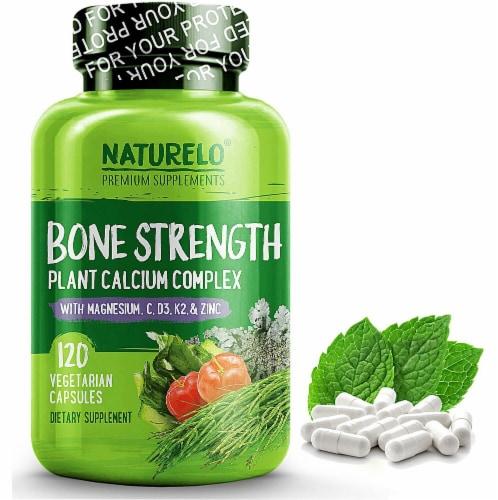 NATURELO Bone Strength Plant Calcium Complex Capsules 120 Count Perspective: front