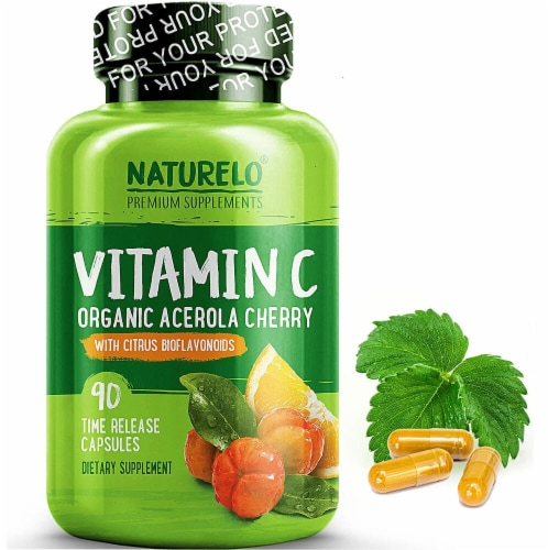NATURELO Vitamin C Organic Acerola Cherry Time Release Capsules Perspective: front