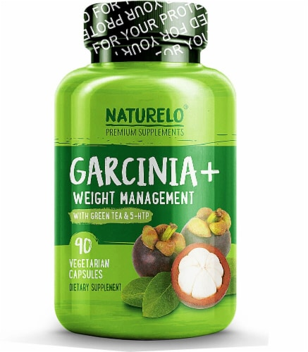 NATURELO Garcinia & Weight Management with Green Tea & 5-HTP Vegetarian Capsules Perspective: front