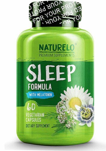 NATURELO Sleep Formula with Melatonin Capsules Perspective: front