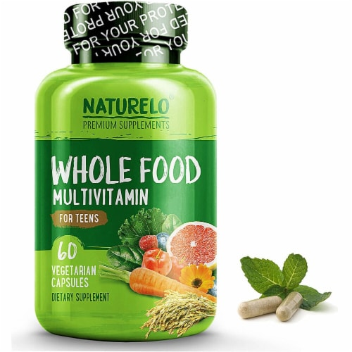 NATURELO  Whole Food Teen Multivitamin Vegetarian Capsules Perspective: front