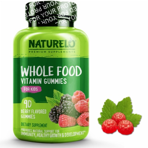 NATURELO Whole Food Kids Berry Vitamin Gummies 90 Count Perspective: front