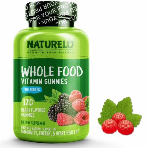 NATURELO Whole Food Berry Flavored Adult Vitamin Gummies 120 Count Perspective: front