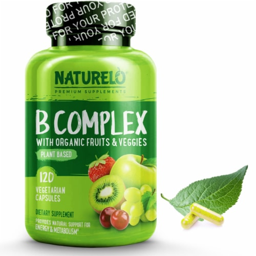 NATURELO Plant-Based B Complex Vegetarian Capsules 120 Count Perspective: front