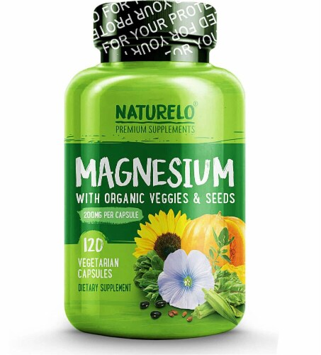 NATURELO Magnesium with Organic Veggies & Seeds Capsules 200mg Perspective: front