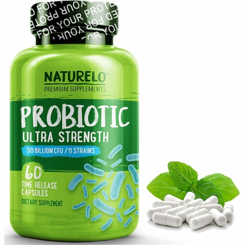 NATURELO Ultra Strength Probiotic Time Release Capsules Perspective: front