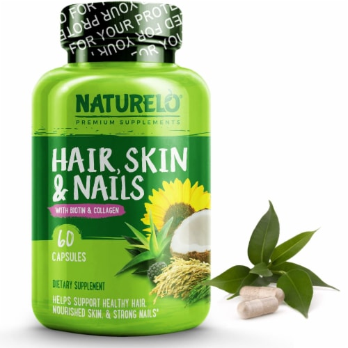 NATURELO Hair Skin & Nails with Biotin and Collagen Capsules Perspective: front