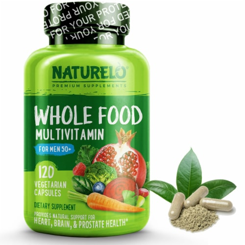NATURELO Mens Whole Food Multivitamin Capsules Perspective: front