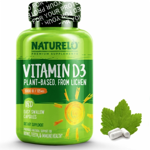 NATURELO Vitamin D3 from Wild-Harvested Lichen Capsules 5000IU Perspective: front