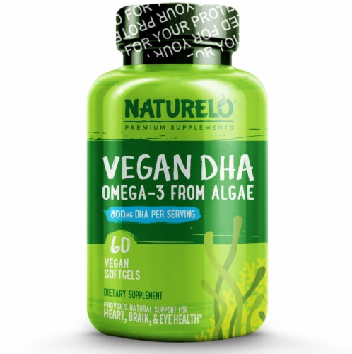 NATURELO Vegan DHA Omega-3 Vegan Softgels Perspective: front