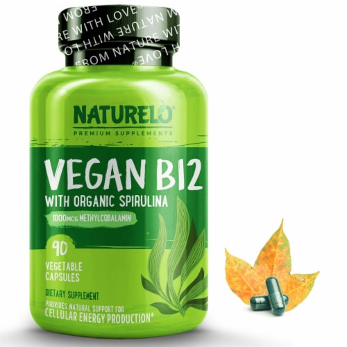 NATURELO Vegan B12 with Organic Spirulina Vegetable Capsules Perspective: front