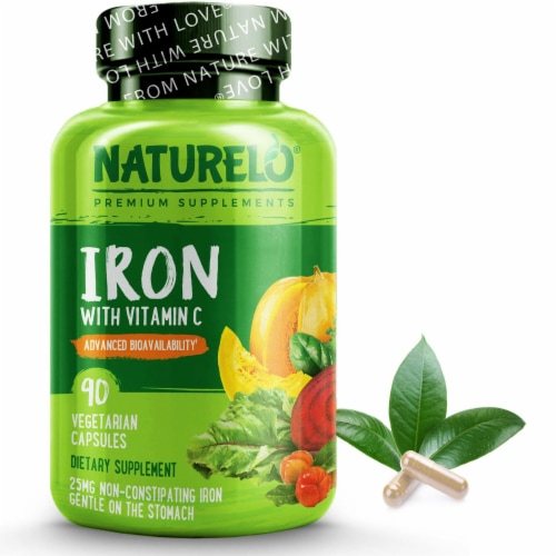 NATURELO Iron with Vitamin C Vegetarian Capsules Perspective: front