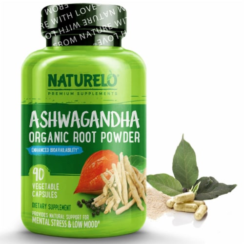 NATURELO Organic Ashwagandha with Black Pepper Extract Capsules Perspective: front