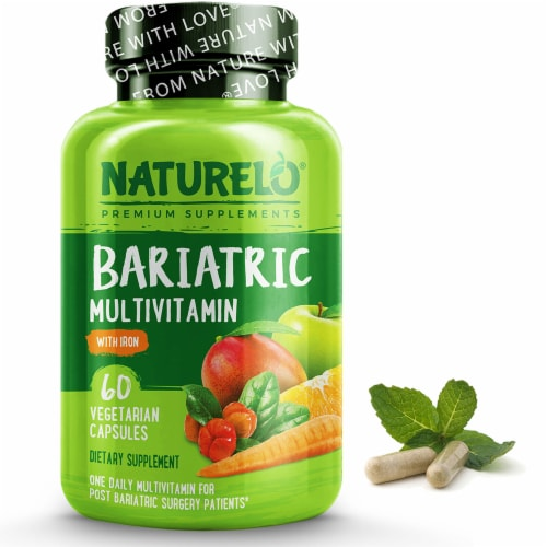 NATURELO Bariatric Multivitamin with Iron Vegetarian Capsules Perspective: front