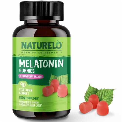NATURELO Strawberry Flavor Vegan Melatonin Gummies Perspective: front
