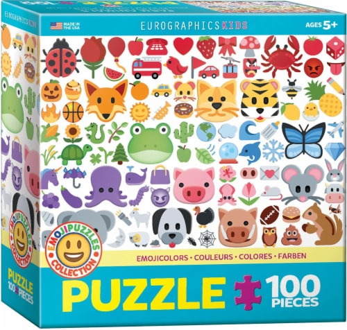 Emoji Puzzle Emoji Colors 100 Piece Jigsaw Puzzle Perspective: front