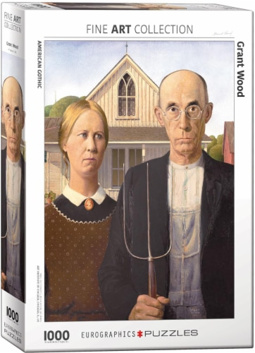 American Gothic by Grant Wood 1000 Piece Jigsaw Puzzle Perspective: front