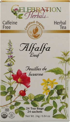 Celebration Herbals  Organic Herbal Tea Caffeine Free Alfalfa Leaf Perspective: front