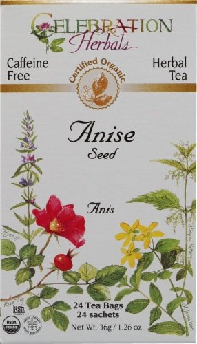 Celebration Herbals  Organic Herbal Tea Caffeine Free Anise Seed Perspective: front