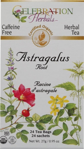 Celebration Herbals  Organic Herbal Tea Caffeine Free Astragalus Root Perspective: front