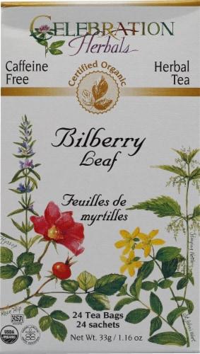 Celebration Herbals  Organic Herbal Tea Caffeine Free Bilberry Leaf Perspective: front