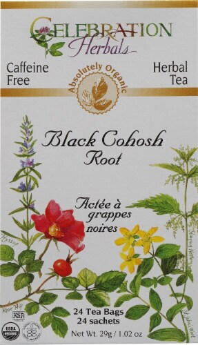 Celebration Herbals  Organic Herbal Tea Caffeine Free Black Cohosh Root Perspective: front