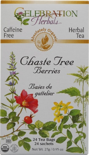 Celebration Herbals  Organic Chaste Tree Berries Tea Caffeine Free Perspective: front