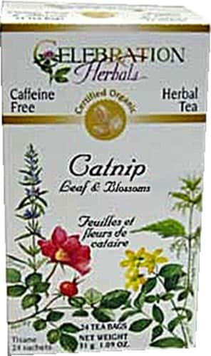 Celebration Herbals  Organic Catnip Leaf & Blossom Tea Caffeine Free Perspective: front