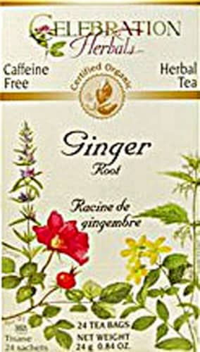 Celebration Herbals  Organic Ginger Root Tea Caffeine Free Perspective: front