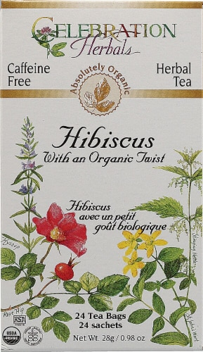 Celebration Herbals  Hibiscus With an Organic Twist Tea Caffeine Free Perspective: front