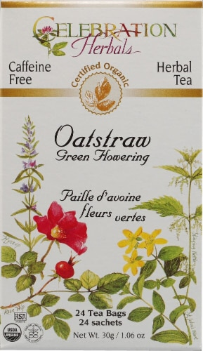 Celebration Herbals  Organic Oatstraw Green Flowering Tea Caffeine Free Perspective: front