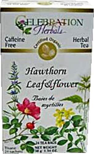 Celebration Herbals  Organic Hawthorne Leaf and Flower Tea Caffeine Free Perspective: front