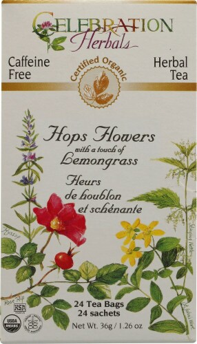 Celebration Herbals  Organic Hops Flowers Tea Caffeine Free Perspective: front