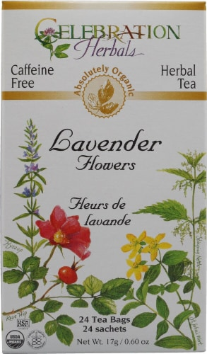 Celebration Herbals  Organic Lavender Flowers Tea Caffeine Free Perspective: front