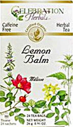 Celebration Herbals  Organic Lemon Balm Tea Caffeine Free Perspective: front
