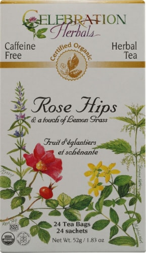 Celebration Herbals  Organic Rose Hips with Lemongrass Tea Caffeine Free Perspective: front