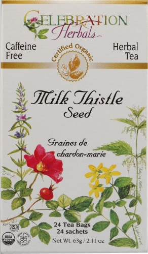 Celebration Herbals  Organic Milk Thistle Seed Tea Caffeine Free Perspective: front